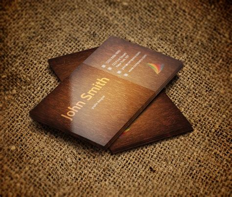Free Wood Grain Business Card Template by Css 2014 100 Free Business Cards Psd