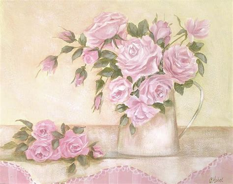 pitcher of pink roses painting by chris hobel