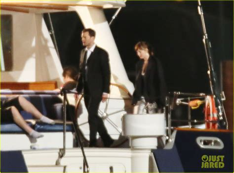 50 shades darker filming continues on luxury yacht as dakota johnson jamie dornan film fifty shades on a