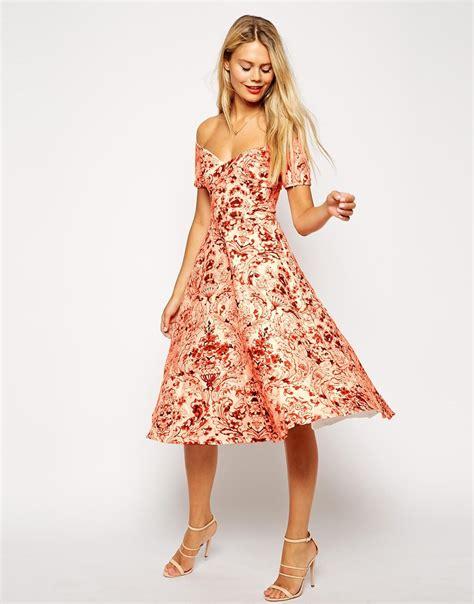 Autumn Print Shirt Restock Midi Dress 1 asos porcelain print bardot midi prom dress in orange lyst