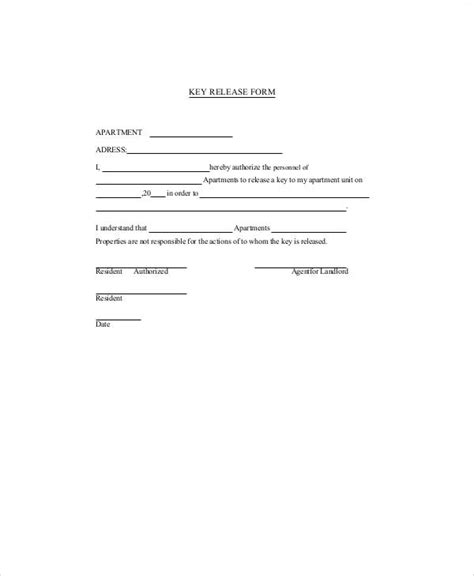 key receipt template 10 sle key release forms sle templates