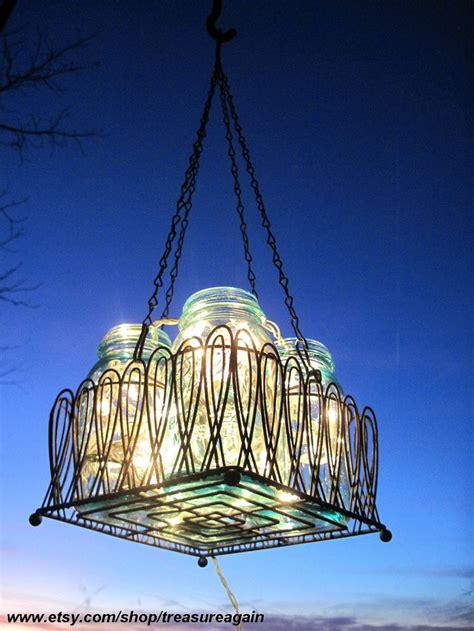 Mason Jar Chandelier Solar Lights Antique Blue Mason Jars Solar Chandelier