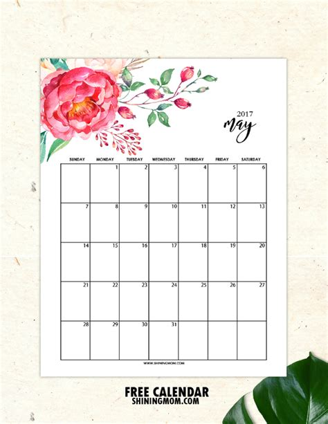 printable calendar flowers free printable may 2017 calendars 12 awesome designs