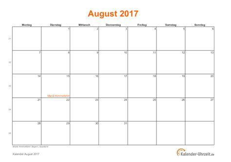 Kalender 2018 August Und September August 2017 Kalender Mit Feiertagen