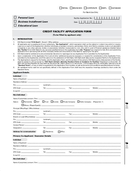generic credit application template printable application forms