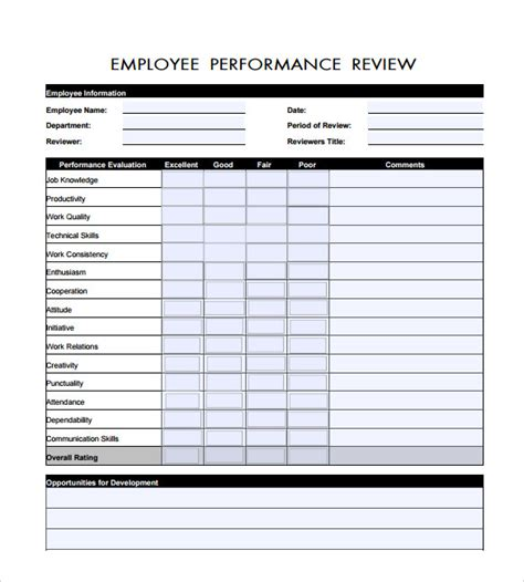 staff performance appraisal form template sle employee review template 6 free documents