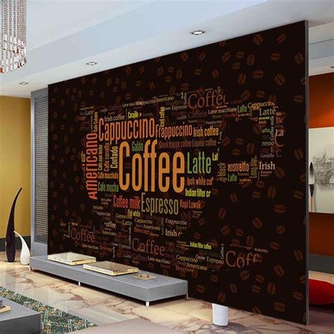 coffee shop wallpaper murals aliexpress com buy coffee letters wallpaper custom 3d