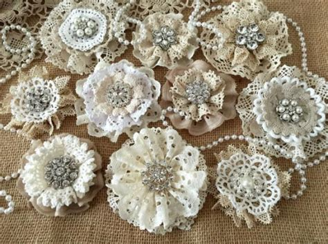 Handmade Lace Flowers - wedding shabby or rustic lace handmade flowers with
