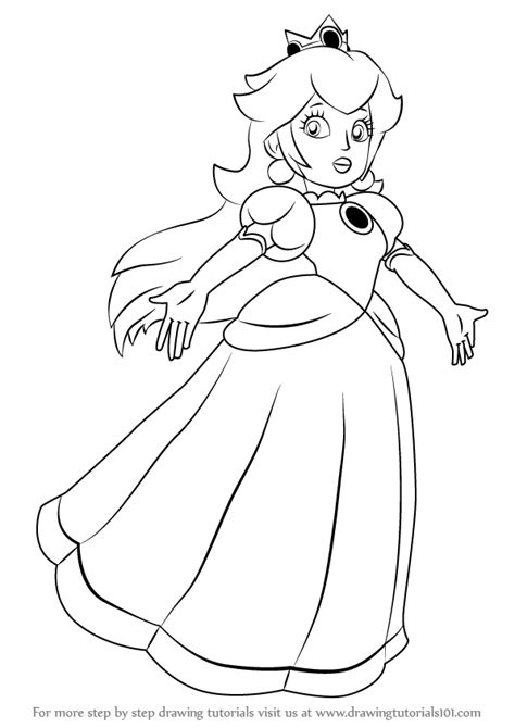 Learn How to Draw Princess Peach from Super Mario (Super Mario) Step by Step : Drawing Tutorials