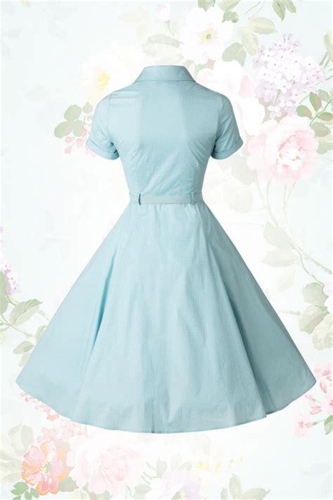 light blue swing dress 40s caterina mini polkadot swing dress in light blue