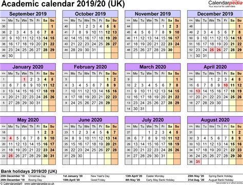Academic Calendar Template Pdf Academic Calendars 2019 2020 As Free Printable Pdf Templates