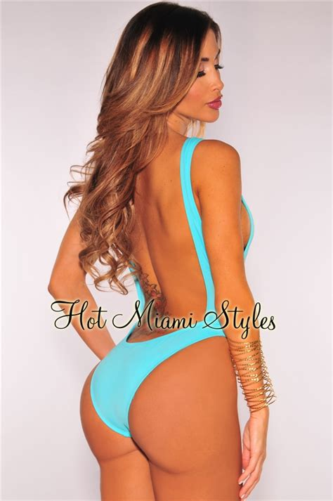 Cut Out Back Swim Dress turquoise cut out ultra high cut swimsuit