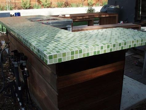 Tile Bar Top by Green Glass Tile Countertop Outdoor Living