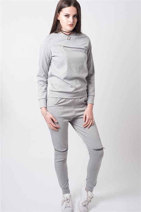 Zip Detail stylish zip detail grey tracksuit shop h s zip detail