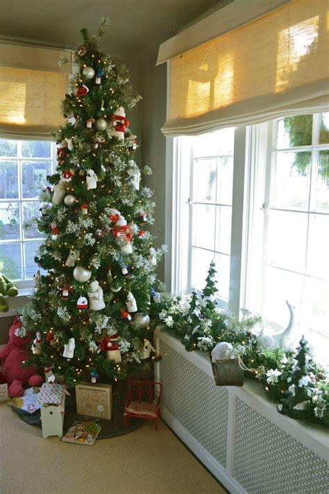 slim christmas tree fits beautifully in the corner of