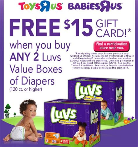 luvs diaper coupons printable 2012 toys r us and babies r us free 15 gift card wyb luvs