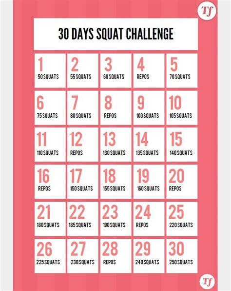 Calendrier 3 Fois Par Jour 30 Days Squat Challenge Le Calendrier 224 Imprimer Sport