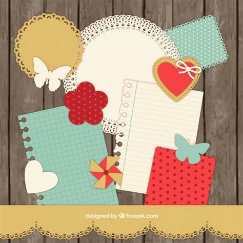 scrap book pictures scrapbooking collection in retro style vector free