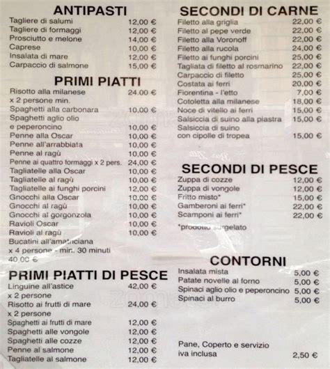 layout di un menu ristorante da oscar a milano foto del menu con prezzi