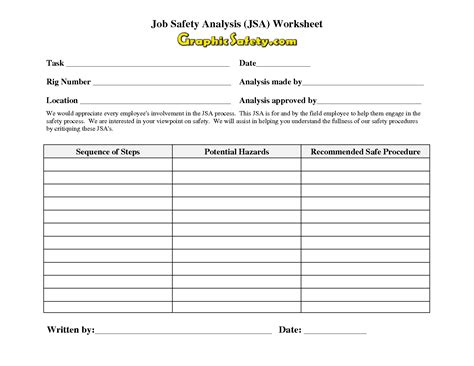 14 Best Images Of Job Safety Analysis Template Worksheet Jsa Job Safety Analysis Templates Task Analysis Worksheet Template