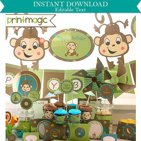 printable monkey birthday decorations lil monkey birthday party invitations decorations