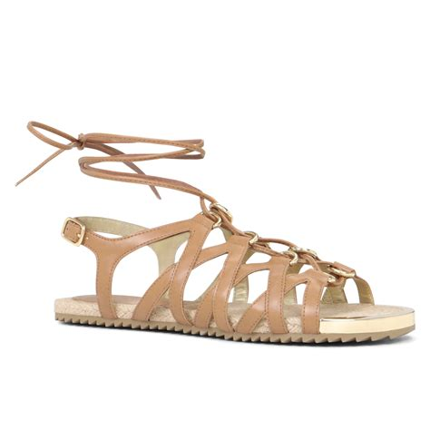 Lace Up Flat Sandals aldo lidia lace up flat sandals in pink cognac lyst