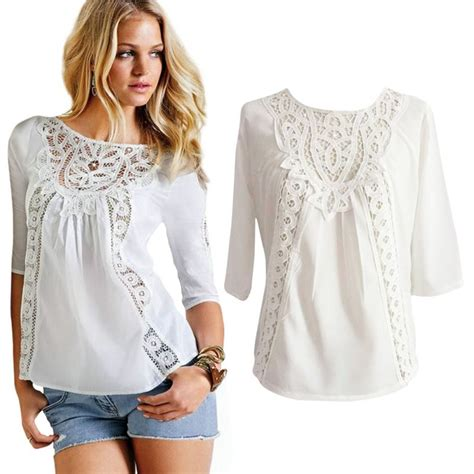 21384 White Casual Top retail wholesale blouse casual lace crochet chiffon 3 4 sleeve shirt white tops