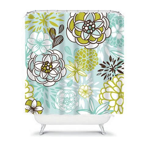 aqua and brown shower curtain best brown shower curtains with flowers products on wanelo