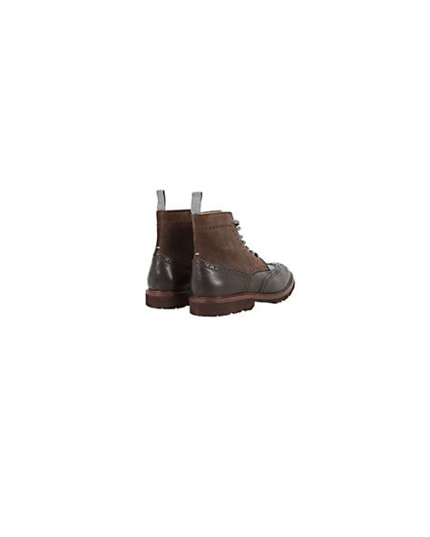 brunello cucinelli leather and suede brogue boots in brown