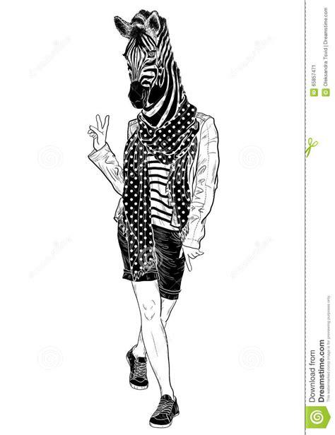 zebra fashion illustration fashion zebra black and white stock vector image 65857471
