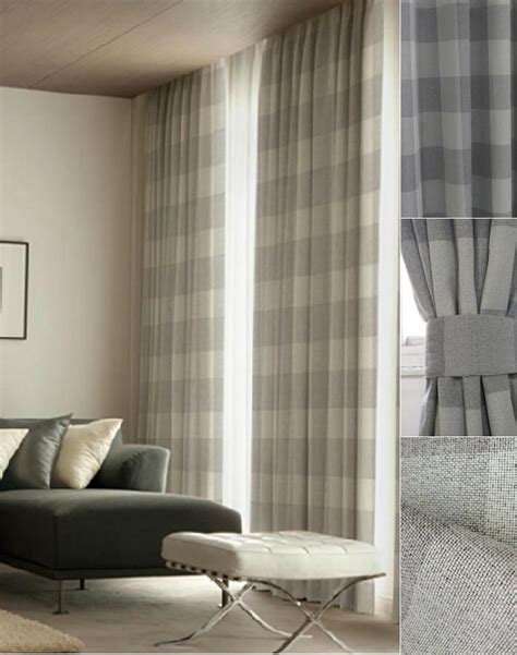 Gray Burlap Curtains 25 Best Ideas About Plaid Curtains On Pinterest Plaid Living Room Farmhouse Drapery Fabric