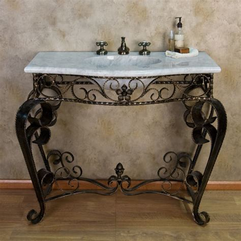 Wrought Iron Bathroom Vanity Scrolled Wrought Iron Console Vanity With Recessed Carrara Marble Sink Top Contemporary