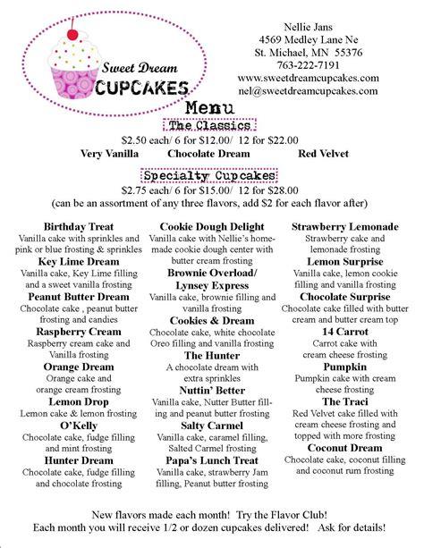 cupcake price list template sweet cupcakes menu prices bakery pricing