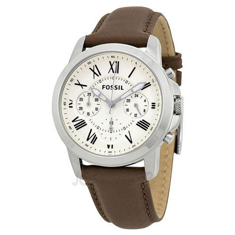Fossil Grant Chronograph Black Silver Brown Leather Ori Bm fossil grant chronograph brown leather s fs4839 grant fossil shop watches