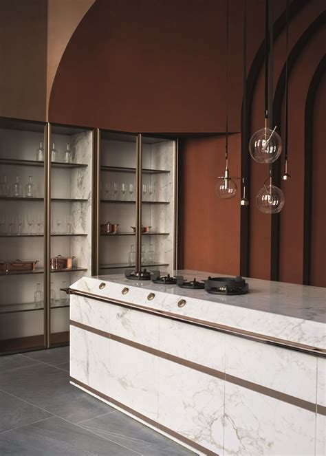 cucina marble calacatta oro marble fitted kitchen by fendi cucine