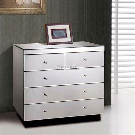bedroom furniture glass foxhunter mirrored furniture glass 2 over 3 drawer chest