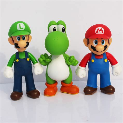 Mario Figure Set Free Shipping 3pcs Set Mario Bros Luigi Mario Yoshi