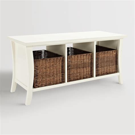 Entryway Bench With Baskets white wood cassia entryway storage bench with baskets world market