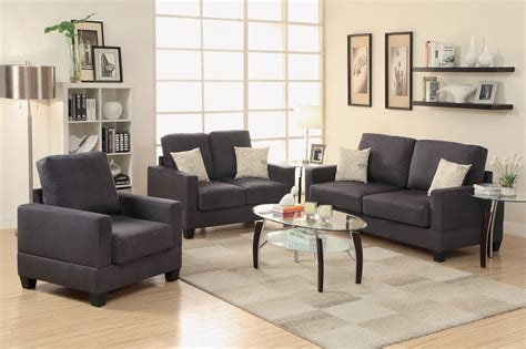 Black Sofa And Loveseat Set by Poundex Rebel F7911 Black Fabric Sofa Loveseat And Chair