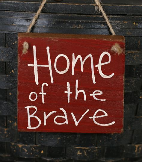 home of the brave lettered wood sign choose color