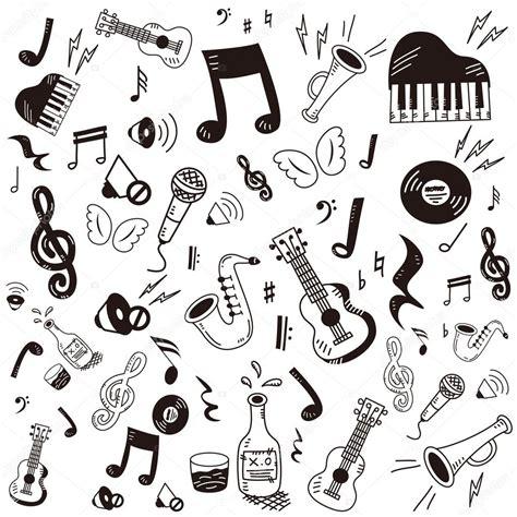 doodle de do song gezeichnet doodle musik icon set stockvektor