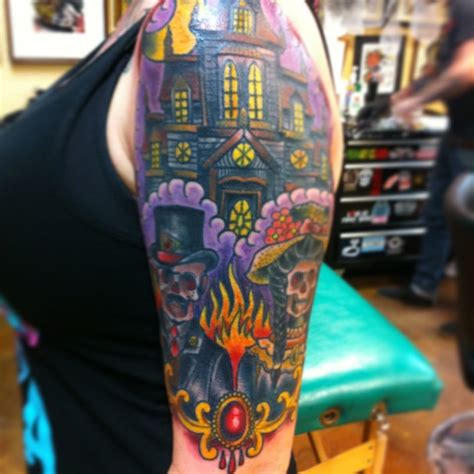 house tattoo haunted house sleeve tattoos www pixshark images