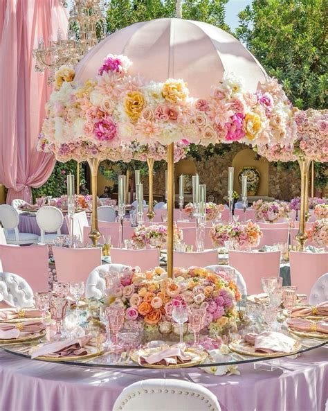bridal shower table decorations flowers tina gage strolling tea umbrella
