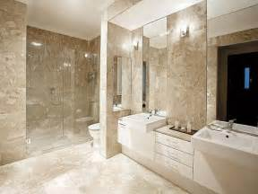 Bathroom design with twin basins using frameless glass bathroom