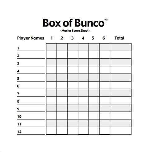 tally card template 13 sle bunco score sheets templates to