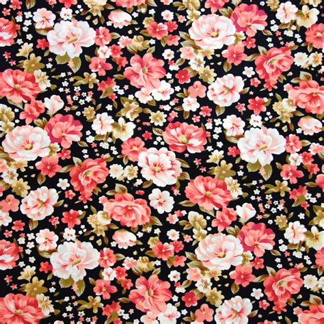 floral prints black floral fabric and pink roses on by thefabrichippie