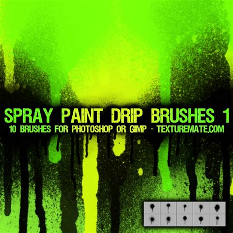 spray paint brushes photoshop free spray paint drip 1 brush pack for photoshop or gimp