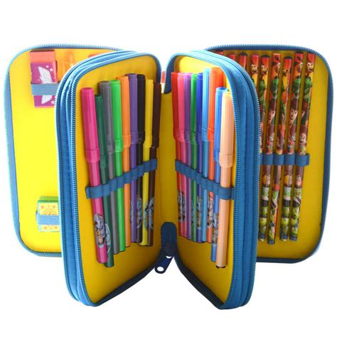 pencil cases with three sections toy story 3d holographic triple decker zipped stationery