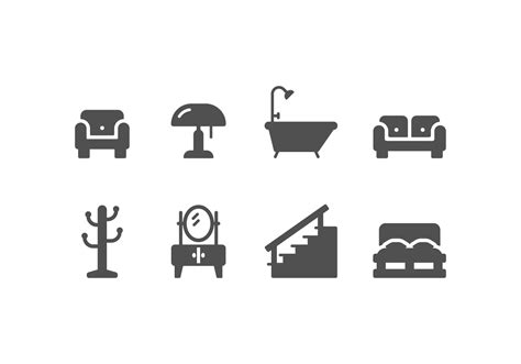 furniture  home decoration set icons   vector art stock graphics images