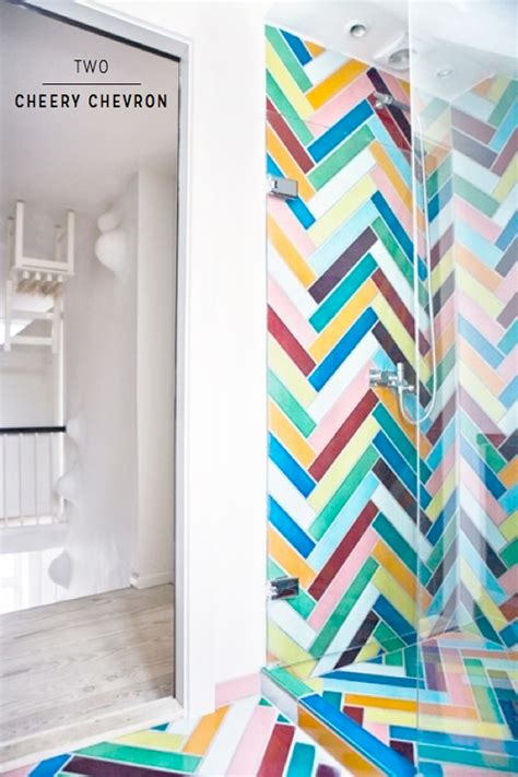 chevron bathroom ideas seven amazingly colourful shower room ideas bright